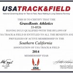 GrassRoots Athletics USATF Membership Certificate